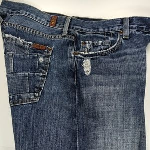 7 For All Mankind Mens Bootcut Havana Patch Blue J